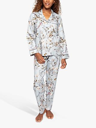 Nora Rose by Cyberjammies Juliette Floral Print Pyjama Set, Grey/Multi