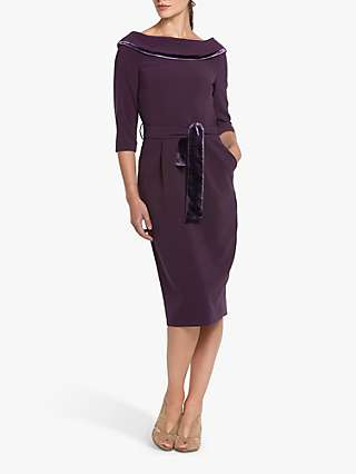 Helen McAlinden Mirren Cowel Neck Knee Length Dress, Mulberry