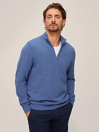 John Lewis & Partners Cotton Cashmere Half Zip Neck Jumper