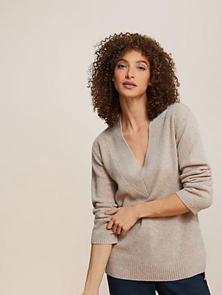 Modern Rarity V-Neck Cashmere Jumper, Natural