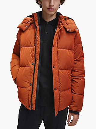 Calvin Klein Crinkle Mid Length Hooded Quilted Jacket