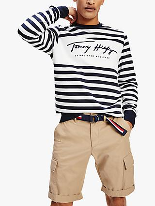 Tommy Hilfiger Organic Cotton Signature Stripe Sweatshirt, Desert Sky/White