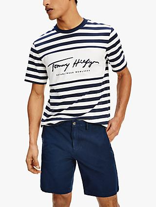 Tommy Hilfiger Organic Cotton Signature Stripe T-Shirt, Desert Sky/White