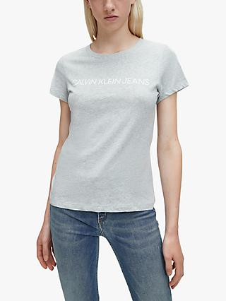 Calvin Klein Jeans Institutional Logo T-Shirt, Light Grey Heather