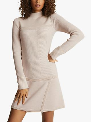 Reiss Zoe Funnel Neck Knitted Mini Dress, Blush