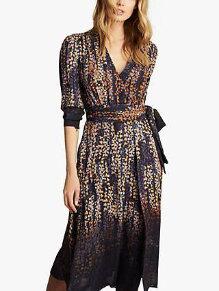 Reiss Esther Coco Leaf Ombre Print Wrap Dress, Blue/Multi