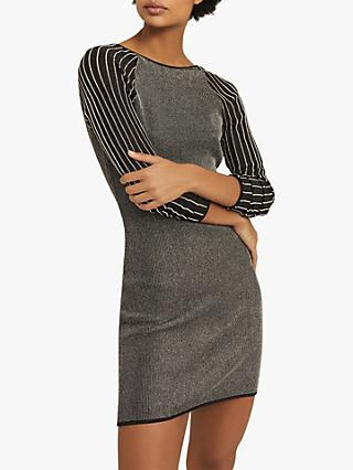 Reiss Marina Metallic Off Shoulder Mini Dress, Black