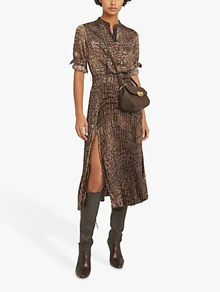 Reiss Avianna Animal Print Side Slit Midi Dress, Brown