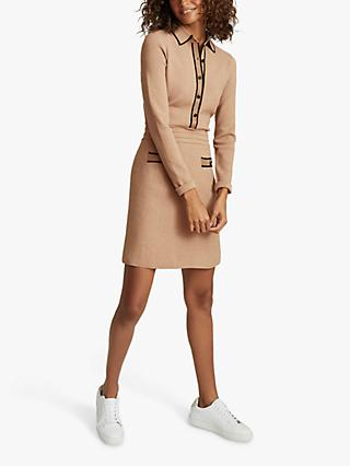 Reiss Gemima Button Collar Knitted Mini Dress, Neutral