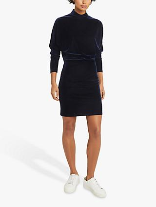 Reiss Daphne V Back Velvet Mini Dress, Navy