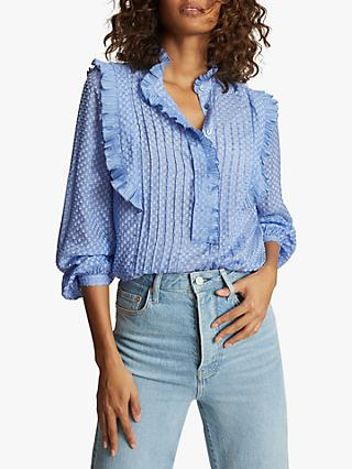 Reiss Taylor Embroidered Blouse, Blue