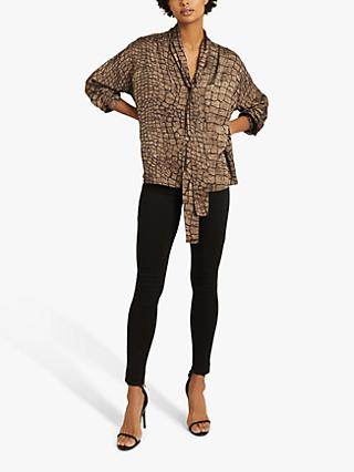Reiss Jessie Tie Neck Animal Print Blouse, Brown