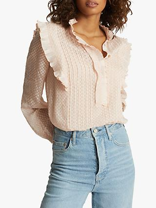 Reiss Taylor Embroidered Blouse, Nude