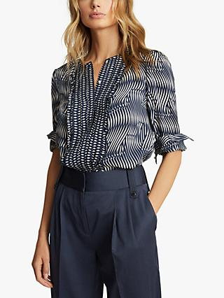Reiss Rebecca Abstract Print Blouse, Navy