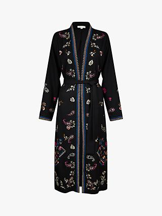 Monsoon Raja Embroidered Kimono, Black