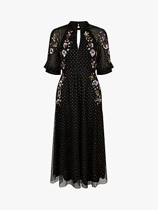 Monsoon Gwenevere Embroidered Floral Midi Dress, Black