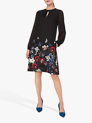Hobbs Aura Floral Print Knee Length Dress, Black/Multi