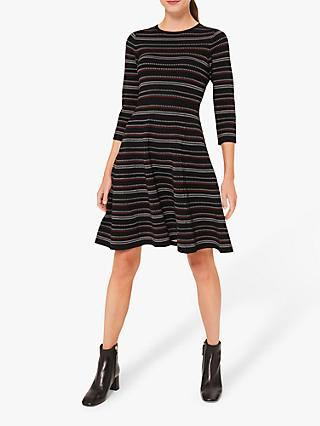 Hobbs Katie Striped Knitted Dress, Multi