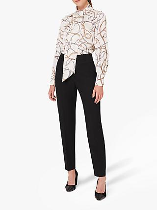 Hobbs Beatrice Clock and Chain Print Tie Neck Blouse, Ivory/Multi