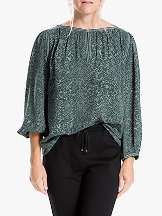 Max Studio Long Sleeved Sprinkle Dot Top, Pine/Ivory