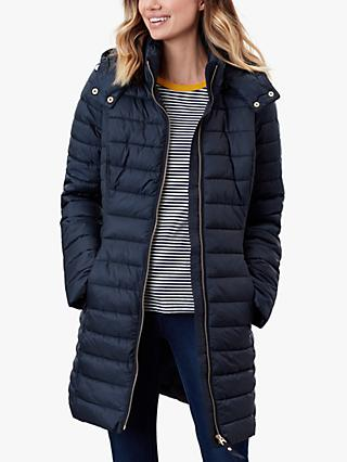 Joules Canterbury Longline Quilted Coat, Navy