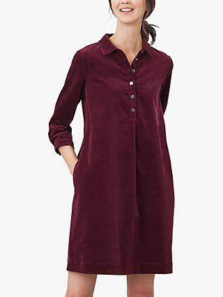 Joules Stella Cord Shirt Dress, Plum