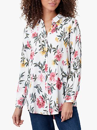 Joules Elvina Button Front Floral Print Shirt, Cream/Multi