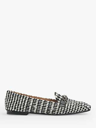 L.K.Bennett Paige Houndstooth Tweed Loafers, White/Black