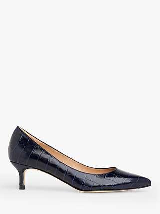 L.K.Bennett Audrey Leather Croc-Effect Kitten Heel Court Shoes