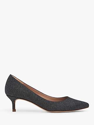 L.K.Bennett Audrey Leather Kitten Heel Court Shoes, Grey