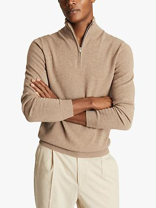 Reiss Royal Half Zip Cashmere Jumper, Taupe