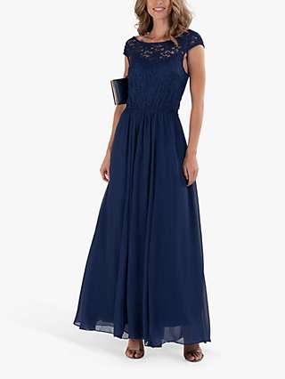 Jolie Moi Floral Lace Maxi Dress, Navy