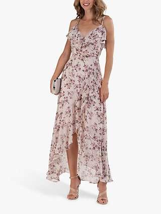 Jolie Moi Chiffon Ruffle Floral Maxi Dress, Pink