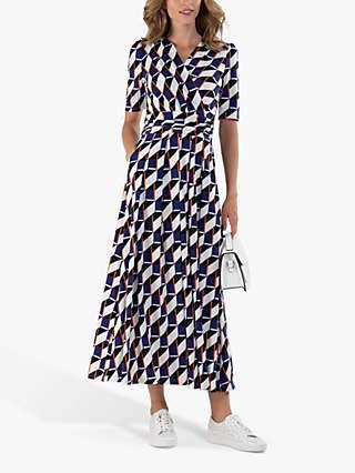 Jolie Moi Crossover Front Geometric Print Maxi Dress, Blue/Multi