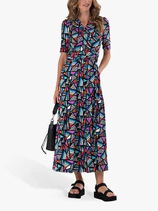 Jolie Moi Crossover Front Abstract Geometric Print Maxi Dress, Purple/Multi