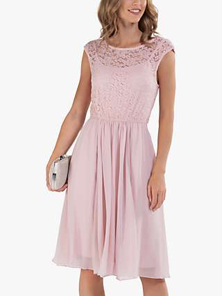 Jolie Moi Lace Bodice Fit and Flare Knee Length Dress, Light Pink