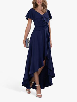 Jolie Moi Ruffle Hem V-Neck Dress, Navy