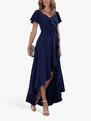 Jolie Moi Ruffle Hem V-Neck Dress, Navy