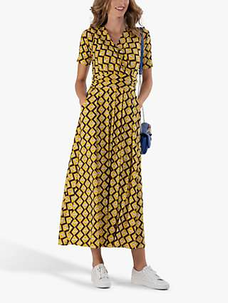 Jolie Moi Cross Front Abstract Geometric Maxi Dress, Yellow