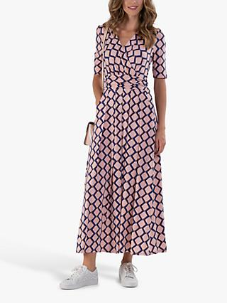 Jolie Moi Cross Front Geometric Maxi Dress, Pink