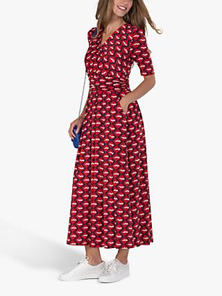 Jolie Moi Cross Front Abstract Geometric Maxi Dress, Red