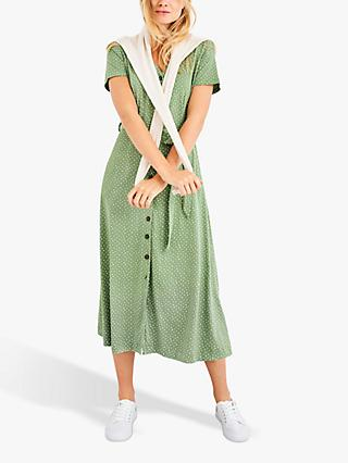 White Stuff Simple Life Dotty Dress, Green
