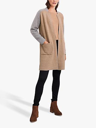 White Stuff Celina Merino Wool Blend Coatigan, Grey Marl/Camel