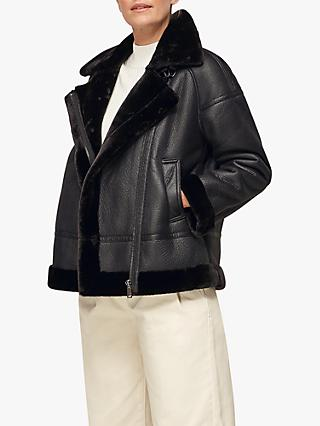 Whistles Faux Fur Biker Jacket, Black