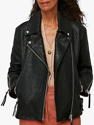 Whistles Lily Easy Textured Leather Biker Jacket, Black