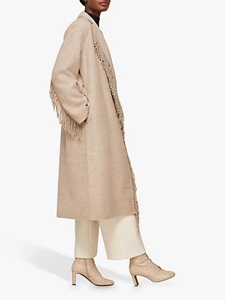 Whistles Fringe Coat, Neutral