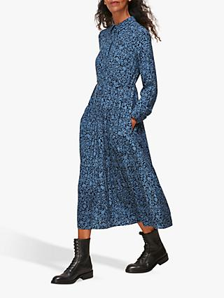 Whistles Eucalyptus Print Tea Dress, Blue