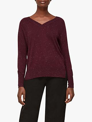 Whistles Annie Sparkle Knit Jumper, Burgundy