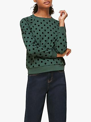 Whistles Polka Dot Flocked Sweatshirt, Green/Multi