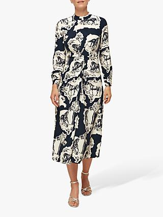 Whistles Twist Stallion Print Silk Midi Dress, Blue